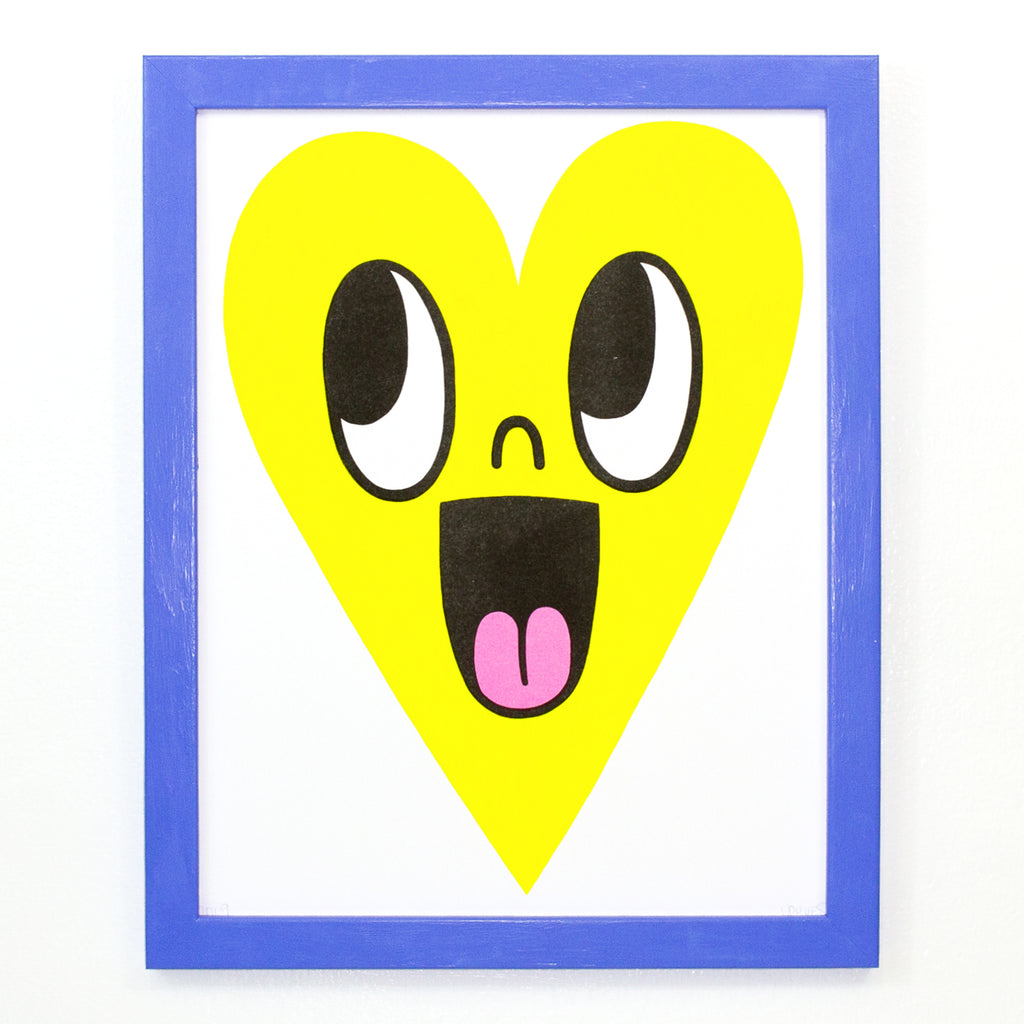 Risograph Heart Print - Bright Yellow