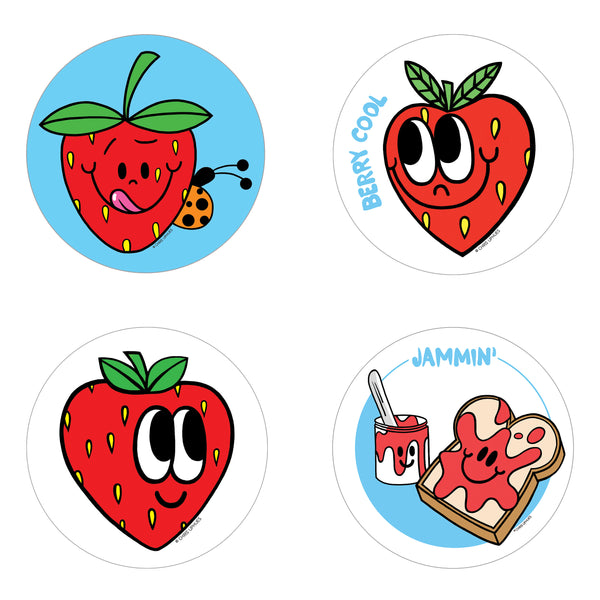 Scratch and Sniff Sticker Set of 16 - Strawberry