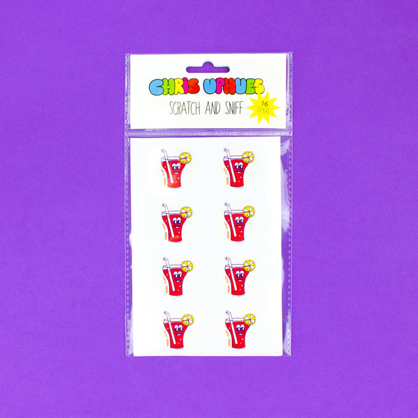 Scratch and Sniff Sticker Set of 16 - Strawberry Soda