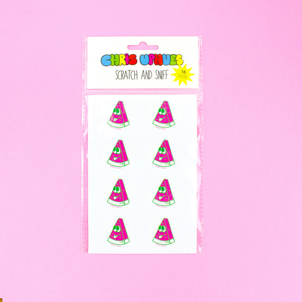 Scratch and Sniff Sticker Set of 16 - Sweet Watermelon