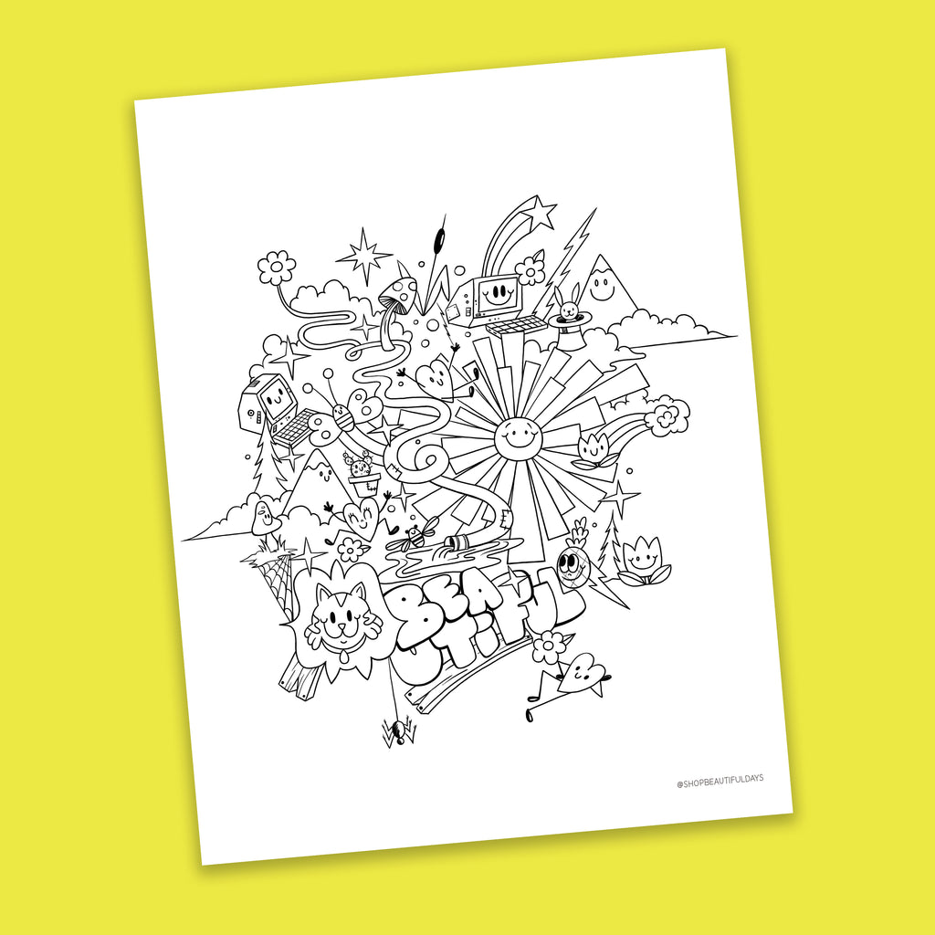 Wild Beautiful Coloring Page - Free Downloadable PDF