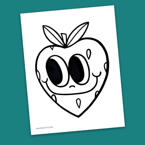 Strawberry Coloring Page - Free Downloadable PDF