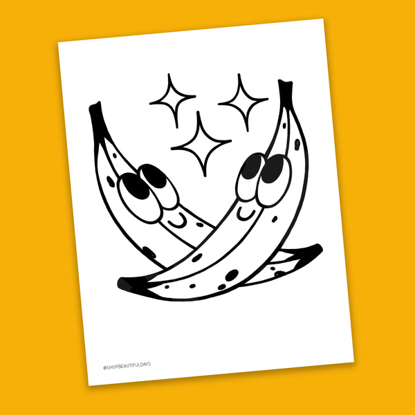 Banana Coloring Page - Free Downloadable PDF
