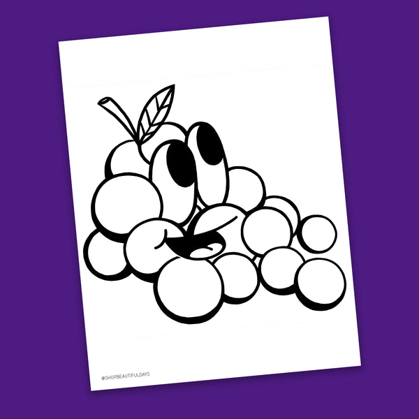 Grapes Coloring Page - Free Downloadable PDF