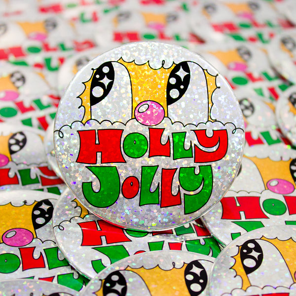 Holly Jolly Sparkle Button