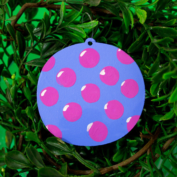 Polka-Dot Wooden Ornament