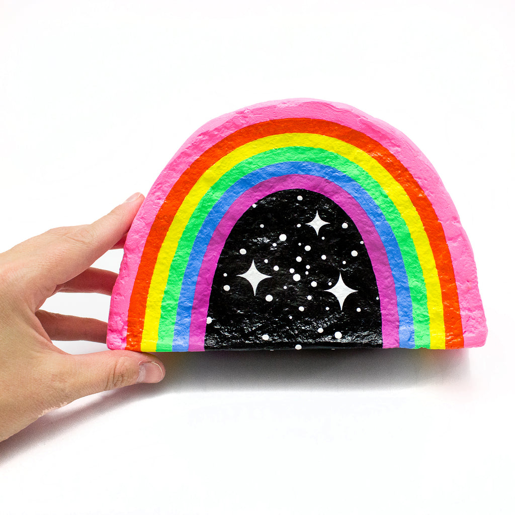 Space Rainbow Papier-Mache Coin Bank