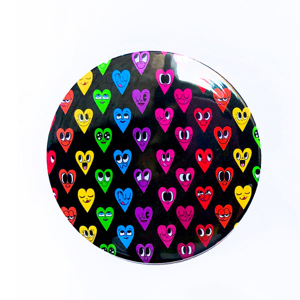 "Black Rainbow Heart 3"" Travel Mirror"