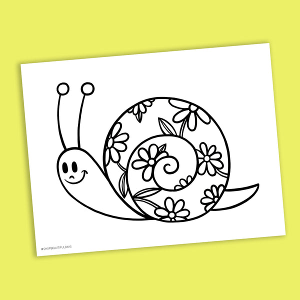 Snail Coloring Page - Free Downloadable PDF