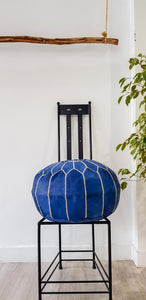 LIGHT NAVY LEATHER POUF - Milsouls