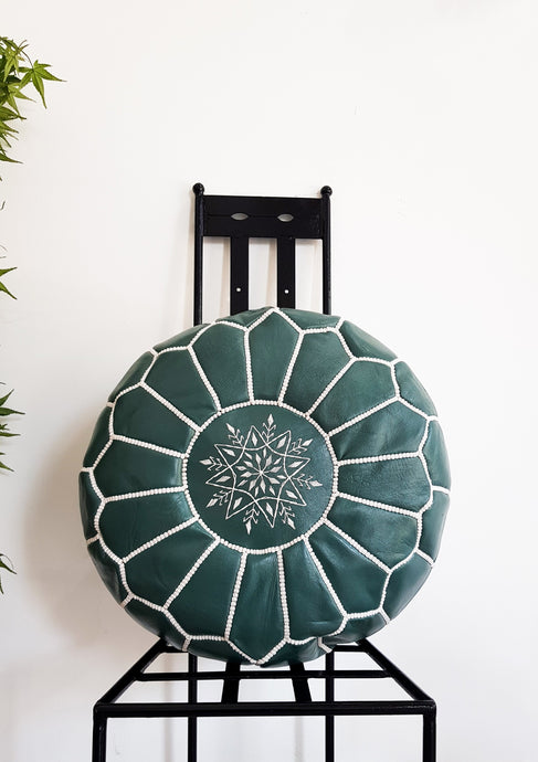 GREEN LEATHER POUF