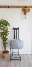 GRAY LEATHER POUF