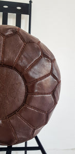 BROWN LEATHER POUF