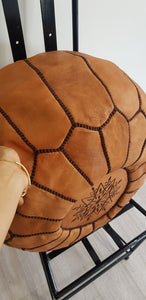 LIGHT BROWN LEATHER POUF