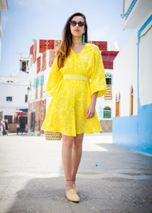 GOLDEN LIME LINEN DRESS - Milsouls