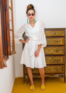 MARTINA WHITE LINEN DRESS - Milsouls