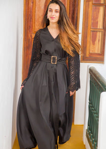 VALENTINA BLACK LINEN MAXI DRESS - Milsouls