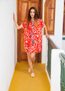 RED JUNGLE MINI MOROCCAN KAFTAN - Milsouls