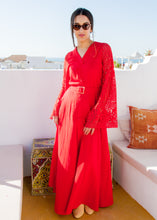 VALENTINA RED LINEN MAXI DRESS - Milsouls