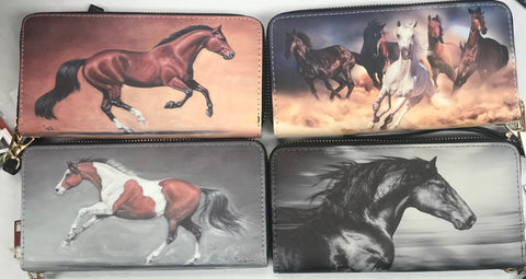 Horse Design Zippered Wallets with Wristlet