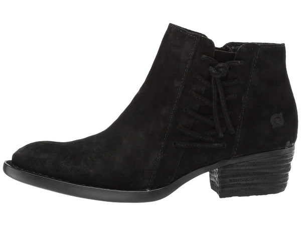 Born Womens Bessie Booties-Black Suede