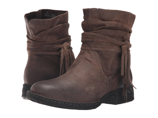 Born Womens Cross Ankle Boot-Taupe Distressed - Bennett's Clothing - 1