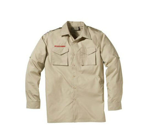 Boy Scout Adult Long Sleeve Uniform Shirt-Tan - Bennett's Clothing