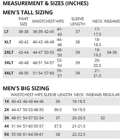 Columbia mens Big-Tall Size Chart from Bennetts Clothing. Check out our large selection of outdoor wear from the brands you love.