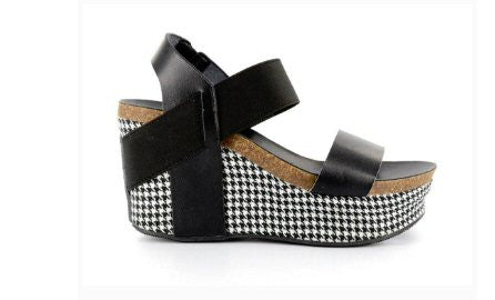 Corkys Houndstooth Wedge-Black - Bennett's Clothing - 3