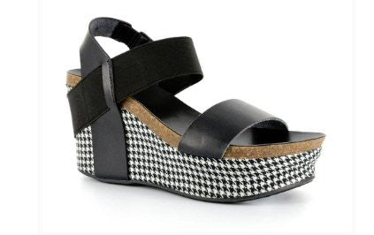 Corkys Houndstooth Wedge-Black - Bennett's Clothing - 1
