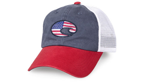 Costa Del Mar United Trucker Hat-White-Red - Bennett's Clothing - 1