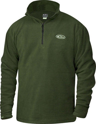Drake Waterfowl 1/4 Zip Camp Fleece Pullover-Green - Bennett's Clothing