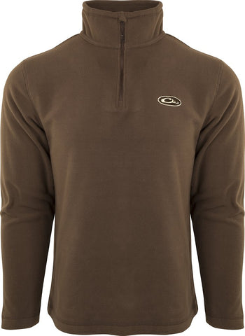 Drake Waterfowl 1/4 Zip Camp Fleece Pullover-Chocolate