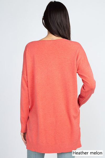 Dreamers V-Neck Soft Sweater-Melon