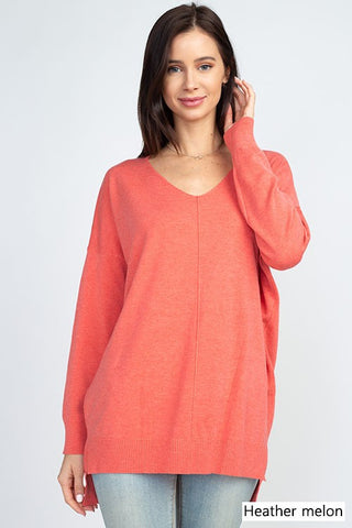 Dreamers by Debut exposed seam V Neck sweater is so soft and fashionable. Shop Bennetts Clothing where you can always find the latest and greatest in womens fashions.