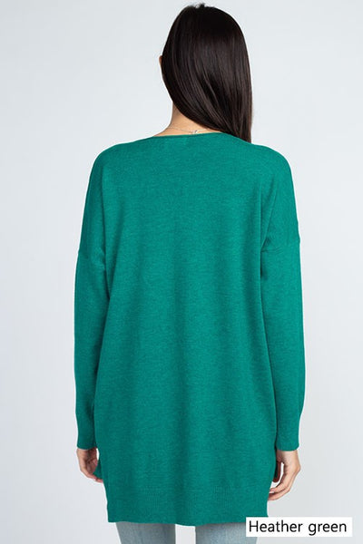 Dreamers V-Neck Soft Sweater-Green