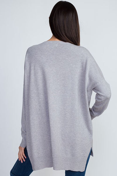 Dreamers Boat Neck Soft Sweater-Heather Grey