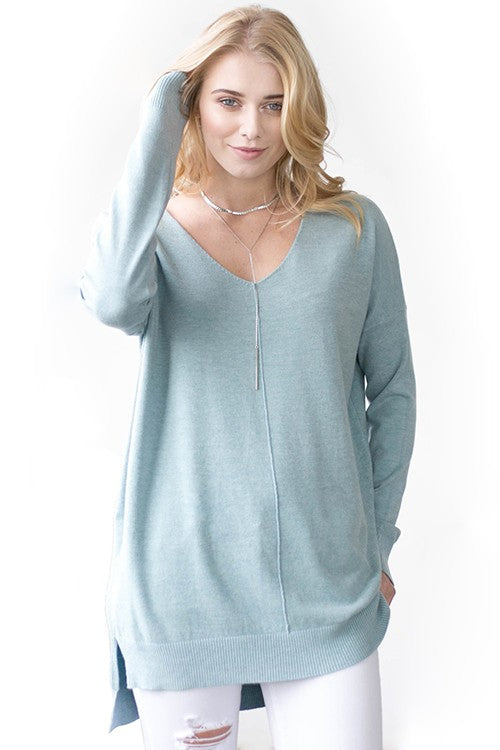 Dreamers V-Neck Soft Sweater-Mint