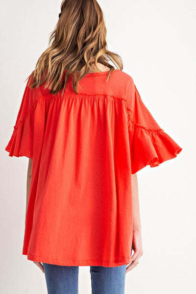 Easel Button Front Sweetness Over-sized Tunic-Sunset Red