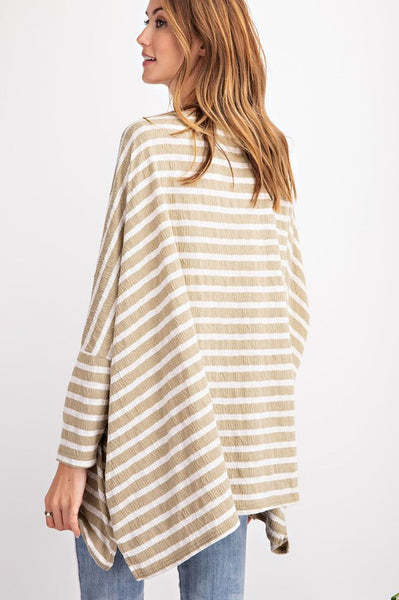 Easel Oversized Striped Tee Tunic-Faded Sage