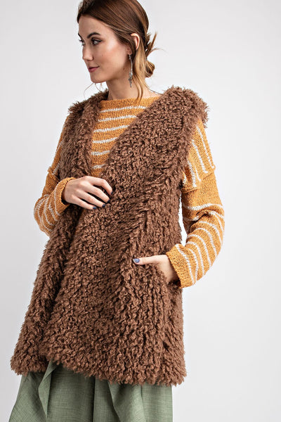 Easel Shaggy Faux Fur Vest With Pockets -Shop Bennetts Clothing for the hottest styles in the brands you want.