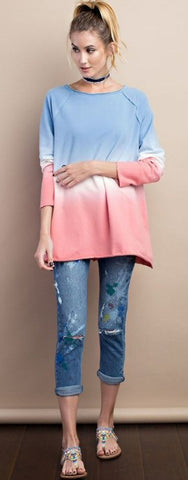 Easel French Terry Ombre Top-Blue