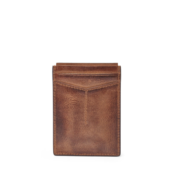 Fossil Quinn Magnetic Card Case-Brown