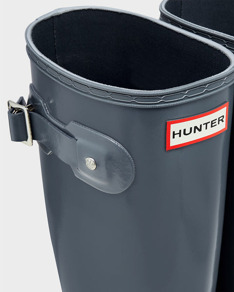 Hunter Original Tall Gloss Rain Boot-Graphite - Bennett's Clothing - 8