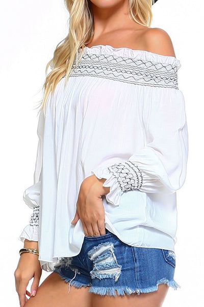 Marcelle Margaux Off Shoulder Top-White