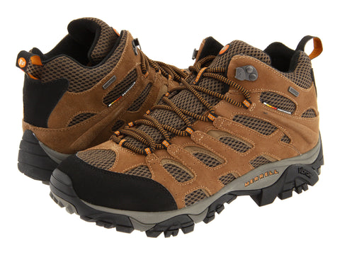 Merrell Mens Moab Mid Waterproof Boots-Earth - Bennett's Clothing - 1