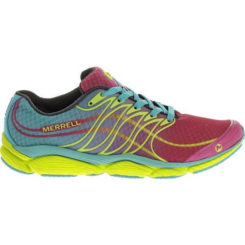 Merrell Women's All Out Flash Trail Running Shoe-Wine-Lime - Bennett's Clothing - 1