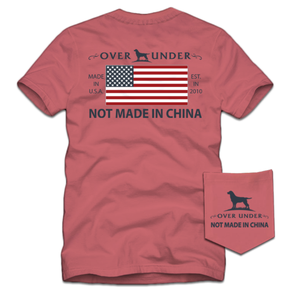 Over Under Not Made in China t-shirt has trendy spot on styling and made in the USA. Shop Bennetts Clothing for the best names in mens outdoor clothing