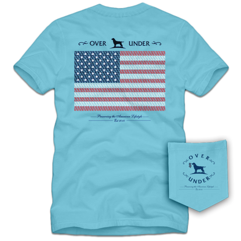 Over Under Lab Flag t-shirt has spot on styling and made in the USA. Shop Bennett's Clothing for the best brands and unique styles in outdoor clothing, shipped same day to your front door.