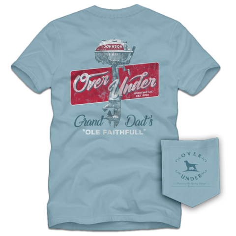 Over Under Ole Faithful boat motor t-shirt is unique and as southern as the gentleman that wears it. Shop Bennett's Clothing for the Southern brands you love with same day shipping and top notch customer service.